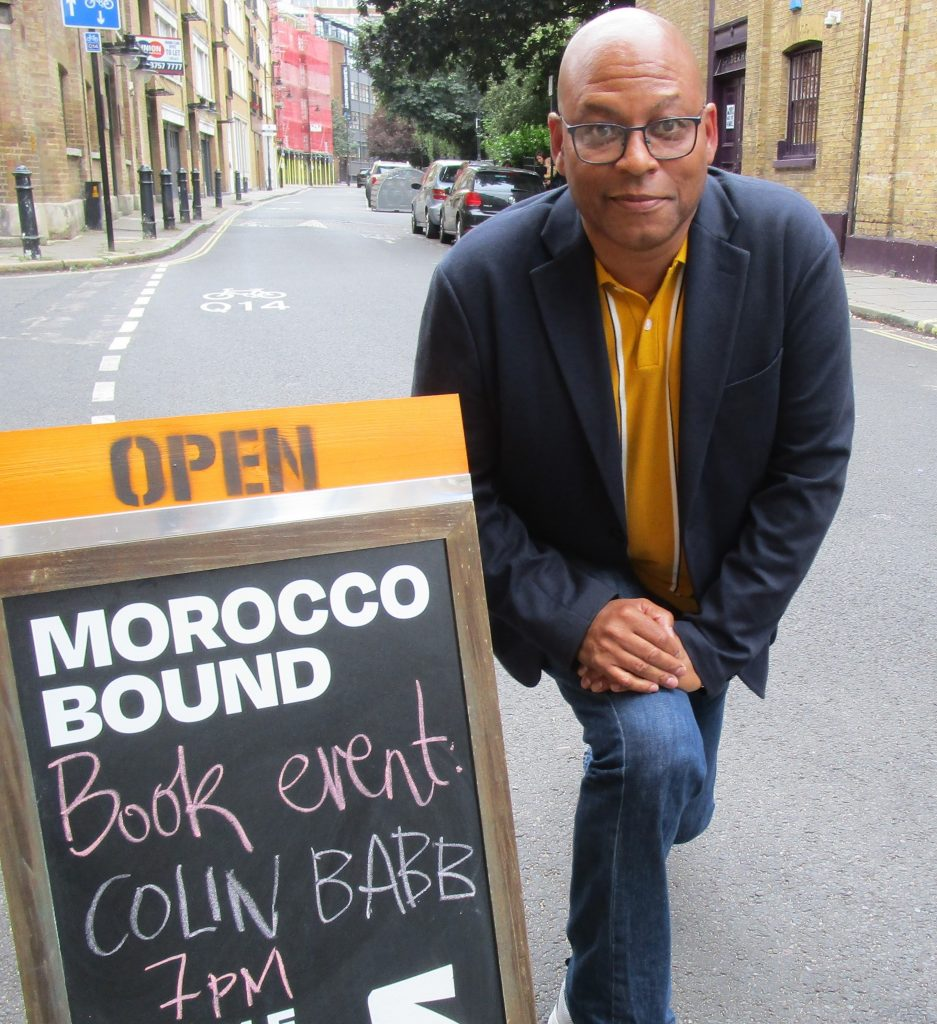 Colin Babb outside The Morocco Bound Bookshop