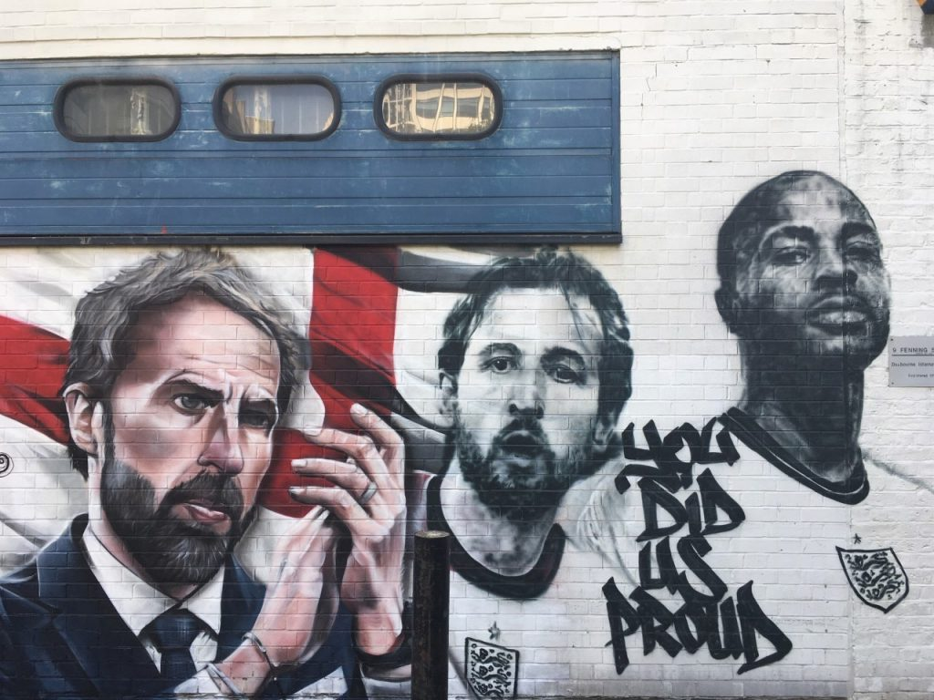 Mural of Gareth Southgate, Harry Kane and Raheem Sterling in London (photo by Colin Babb)